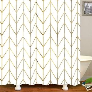 """Gold Chevron Shower curtain 72""""x72"""" with rings"""